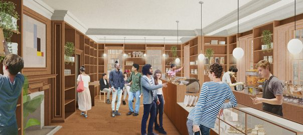 Artist's view of what Café 84 would look like. serving counter running down left-hand side. Lots of wood interiors.